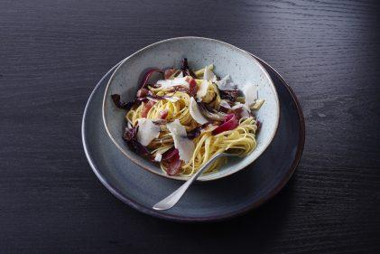 Linguine pasta met Old Amsterdam geitenkaas